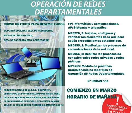 Próximo inicio del curso Operación de Redes Departamentales (IFCT0110) en Santander
