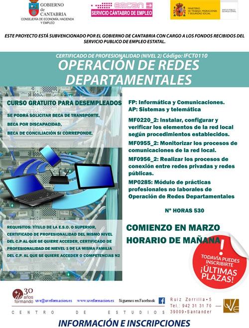 Próximo Inicio Del Curso Operación De Redes Departamentales Ifct0110 En Santander Www Uveformacion Es