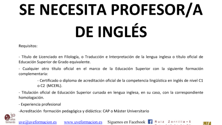 Se precisa docente de Inglés