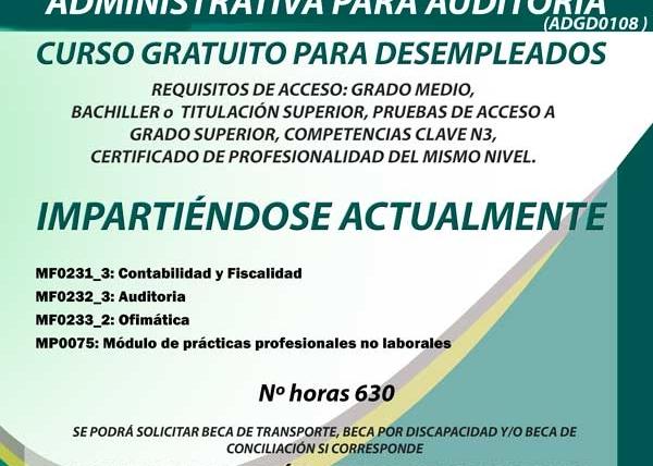 Curso gratuito de Gestión contable y administrativa para auditoria para desempleados