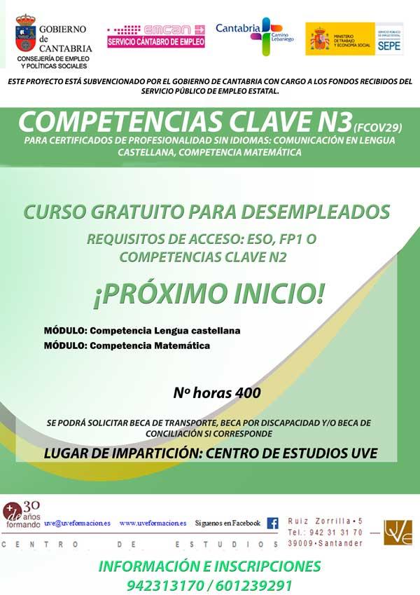 Curso gratis de competencias n3 en santander del emcan