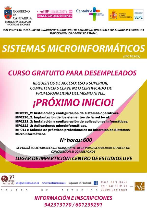 Curso gratis para desempleados de sistemas microinformaticos en santander